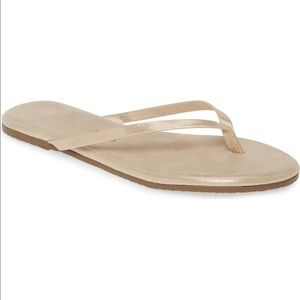 Tkees Glitters Gold Leather Flip Flops